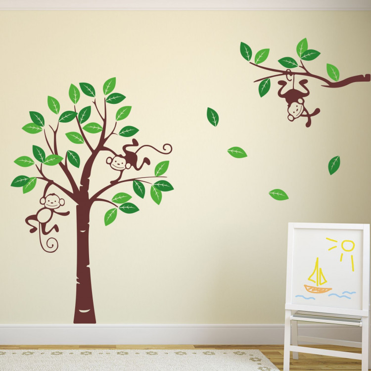 066 wandtattoo affe baum kinderzimmer junge. Black Bedroom Furniture Sets. Home Design Ideas