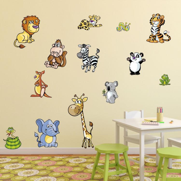 046 wandtattoo xxl tiere f rs kinderzimmer neu l we tiger panda elefant koala. Black Bedroom Furniture Sets. Home Design Ideas