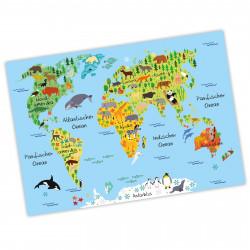 bezaubernde Kinder Weltkarte Blau