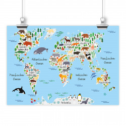 bezaubernde Kinder Weltkarte Grau