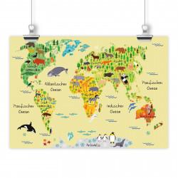 bezaubernde Kinder Weltkarte Gelb