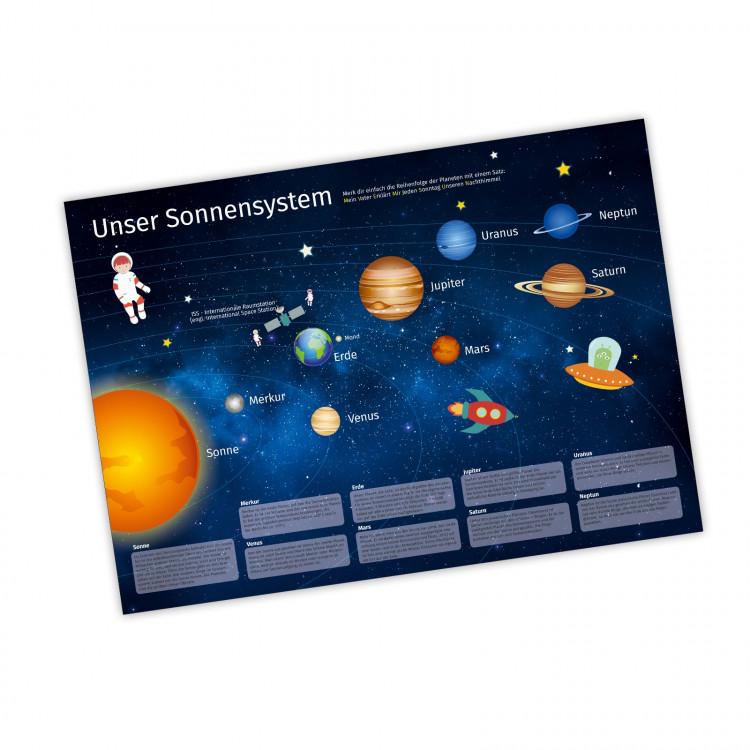 Kinder Lernposter Sonnensystem DIN A1/ A2/ A3