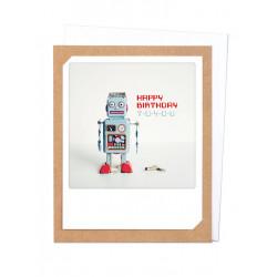 Pickmotion Photo-Klappkarte Happy Birthday Robot (braun)
