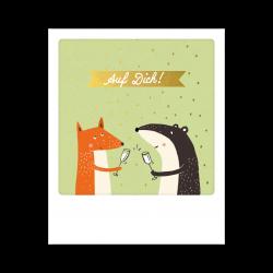 Pickmotion Kleine Postkarte Auf Dich Fuchs & Dachs