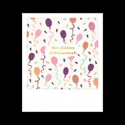 Pickmotion Kleine Postkarte Herzlichen Glückwunsch Ballons