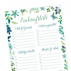 Einkaufsliste Floral Einkaufszettel DIN lang