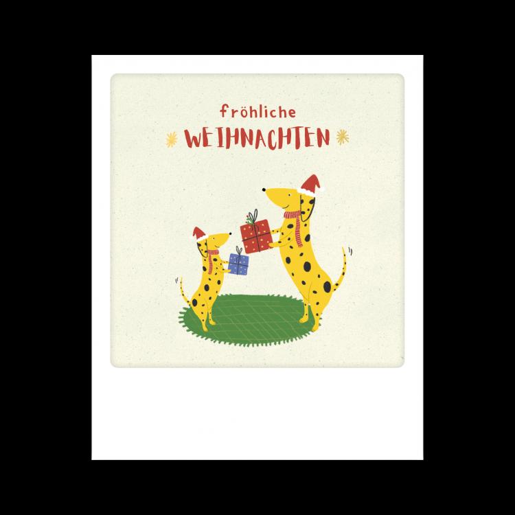 Pickmotion Kleine Postkarte Fröhliche Weihnachten Dog