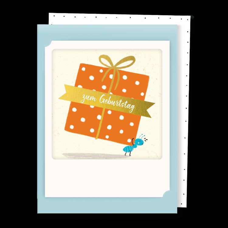 Pickmotion Kleine Klappkarte Zum Geburtstag Großes Geschenk (blau)
