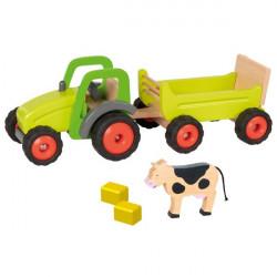 goki grüner Traktor mit Anhänger aus Holz