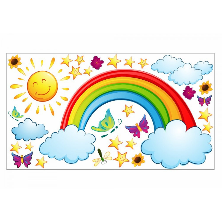 006 Wandtattoo Regenbogen Sonne Wolken Sterne