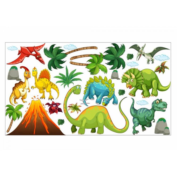 017 Wandtattoo Dinosaurier T-Rex Stegosaurus Vulkan