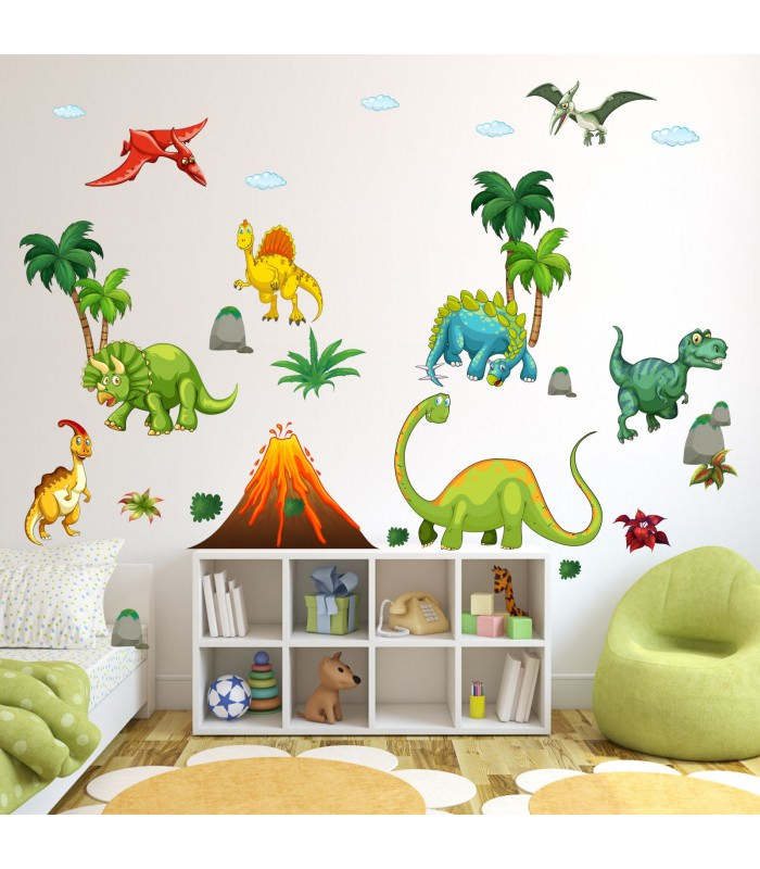 017 wandtattoo dinosaurier t rex stegosaurus vulkan. Black Bedroom Furniture Sets. Home Design Ideas
