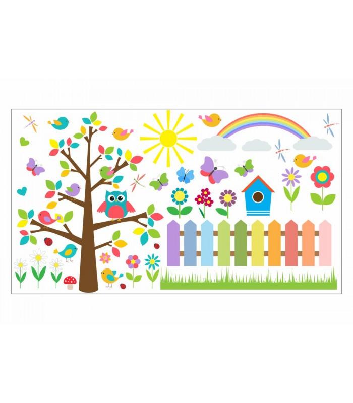 021 wandtattoo baum mit eule bunte blumen und zaun for Kinderzimmer zaun