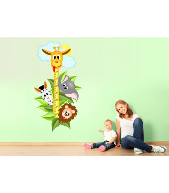 040 wandtattoo messlatte ma stab kind kinderzimmer safari tiere. Black Bedroom Furniture Sets. Home Design Ideas
