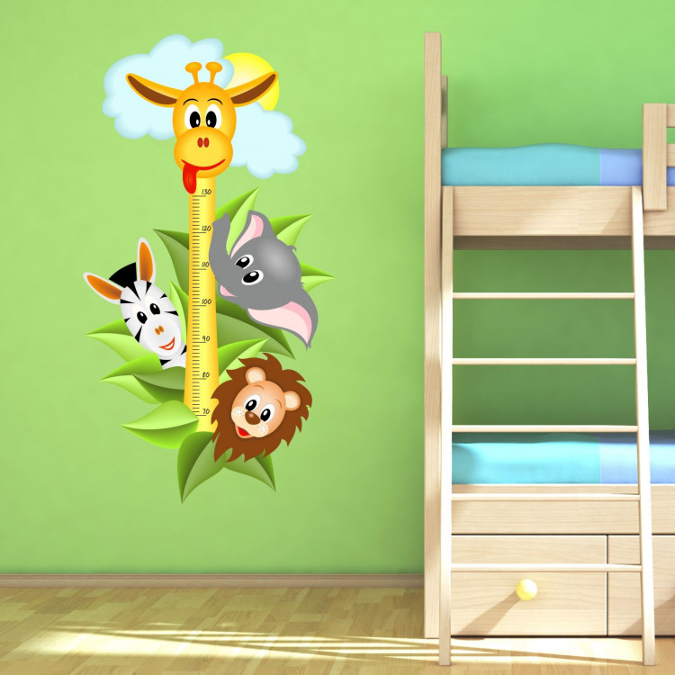 040 wandtattoo messlatte ma stab kind kinderzimmer safari. Black Bedroom Furniture Sets. Home Design Ideas