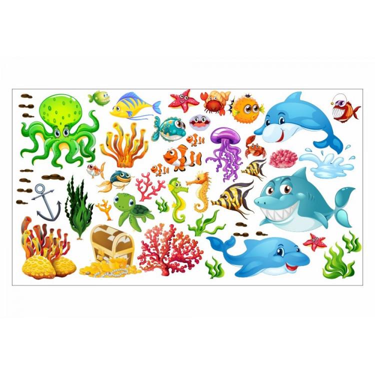 059 Wandtattoo Unterwasserwelt Fische Delfin Hai Korallen Nemo