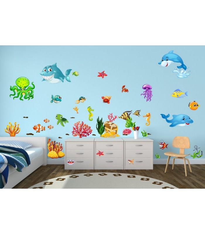 059 wandtattoo unterwasserwelt fische delfin hai korallen nemo. Black Bedroom Furniture Sets. Home Design Ideas