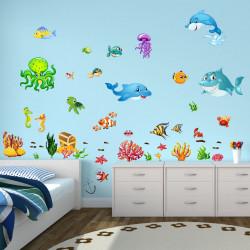 Wandtattoo Unterwasserwelt Fische Delfin Hai Korallen Nemo