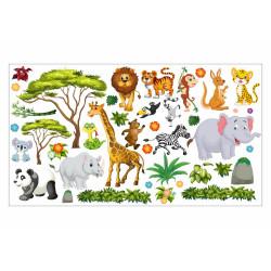 Wandtattoo Dschungel Tiere Löwe Elefant Giraffe