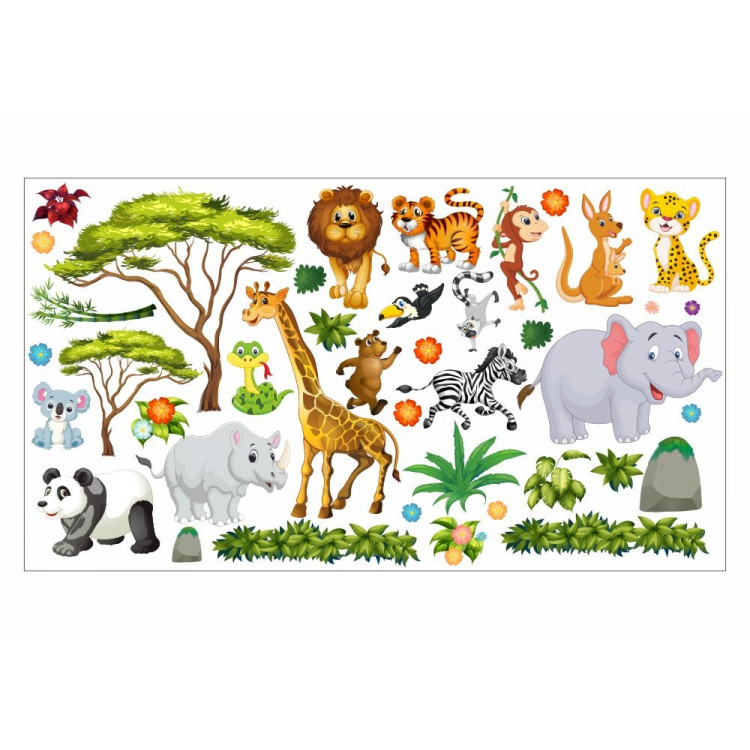 060 Wandtattoo Dschungel Tiere Löwe Elefant Giraffe
