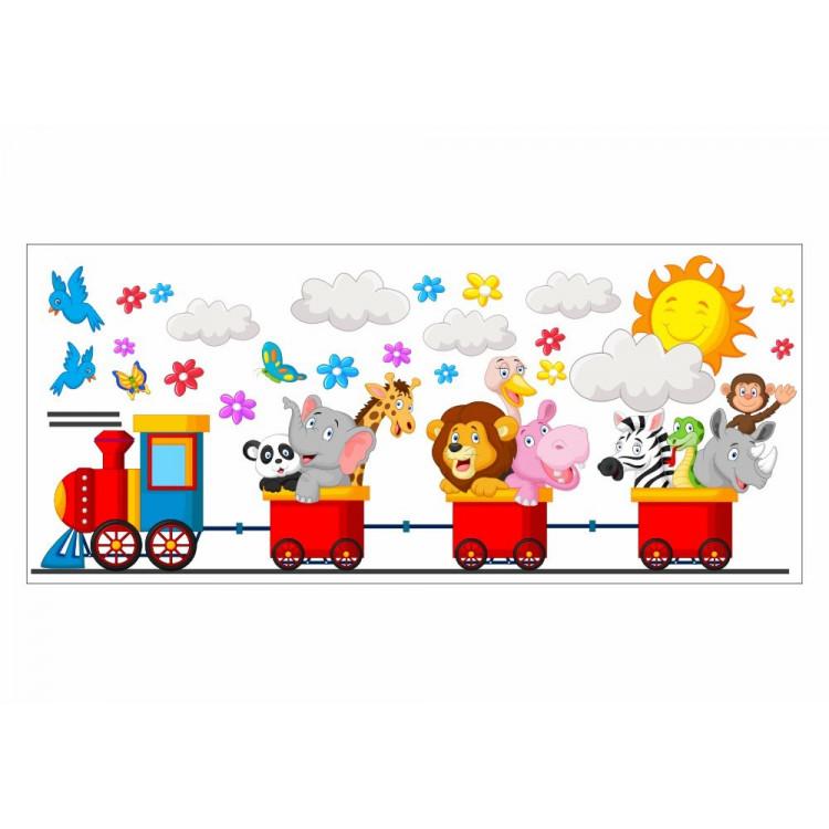 061 Wandtattoo Zug mit Tieren Sonne Wolke Löwe Baby