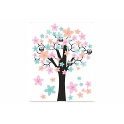 062 Wandtattoo Baum mit Eulen - rosa blau orange