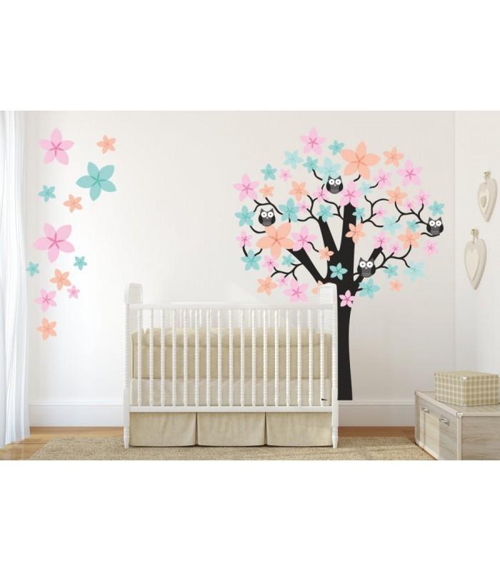 062 wandtattoo baum mit eulen rosa blau orange. Black Bedroom Furniture Sets. Home Design Ideas