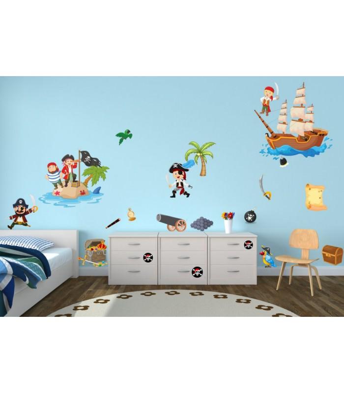 063 wandtattoo pirat kapit n schiff insel schatztruhe. Black Bedroom Furniture Sets. Home Design Ideas