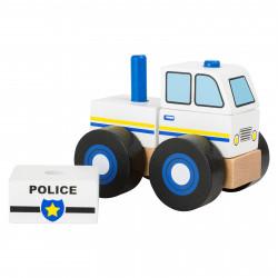SMALL FOOT Holz Konstruktionsfahrzeug Polizei Steckturm