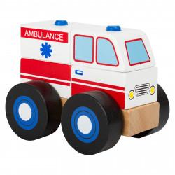 SMALL FOOT Holz Konstruktionsfahrzeug Krankenwagen Steckturm