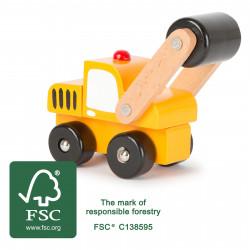SMALL FOOT Holz Fahrzeug Walze gelb Spielauto