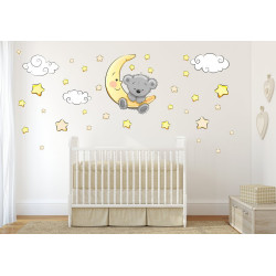 064 Wandtattoo Teddy auf Mond Wolken Sterne schläft