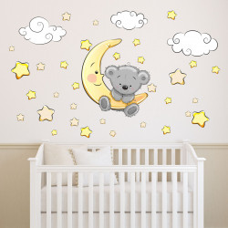 Wandtattoo Teddy auf Mond Wolken Sterne schläft