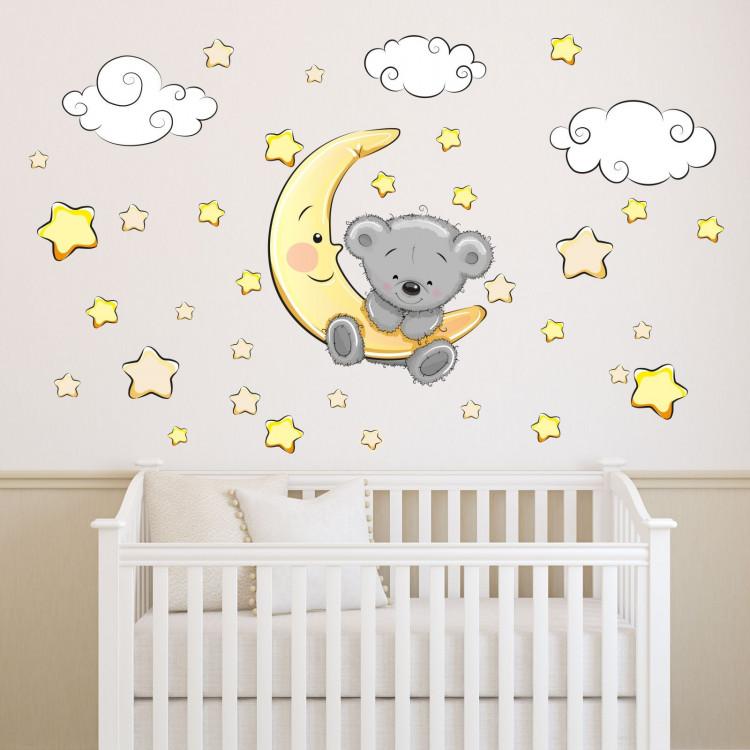 064 Wandtattoo Teddy Auf Mond Wolken Sterne Schlaft