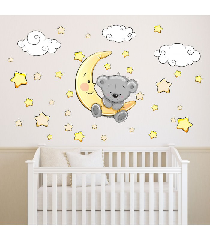 064 wandtattoo teddy auf mond wolken sterne schl ft. Black Bedroom Furniture Sets. Home Design Ideas