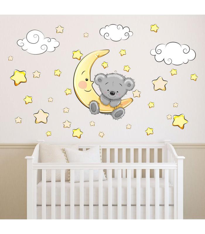 064 wandtattoo teddy auf mond wolken sterne schl ft. Black Bedroom Furniture Sets. Home Design Ideas