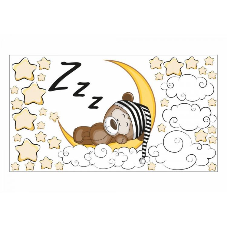 087 Wandtattoo Teddy Auf Mond Sterne Wolken