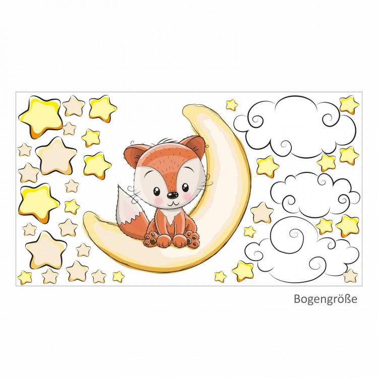 011 Wandtattoo Fuchs sitzt auf Mond Sterne