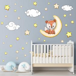 Wandtattoo Fuchs sitzt auf Mond Sterne