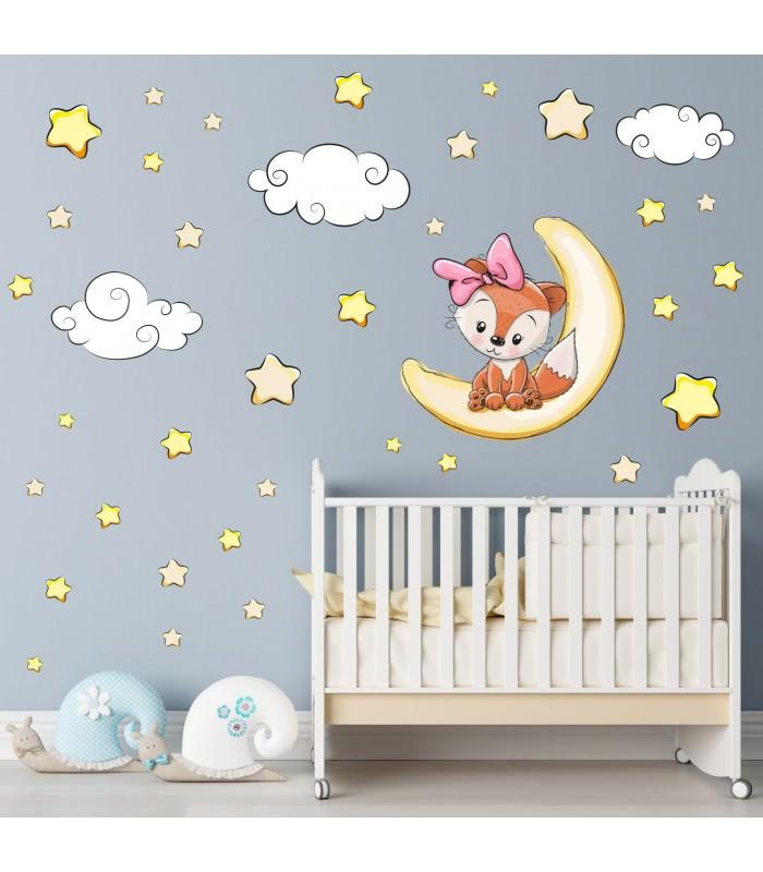 Mond Sterne Kleid: 012 Wandtattoo Fuchs Mädchen Schläft Auf Mond Wolken Sterne