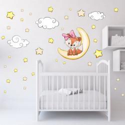 012 Wandtattoo Fuchs Mädchenschläft auf Mond Wolken Sterne