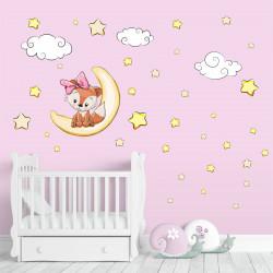 Wandtattoo Fuchs Mädchenschläft auf Mond Wolken Sterne
