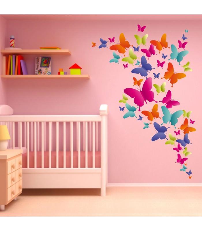 004 Wandtattoo bunte Schmetterlinge