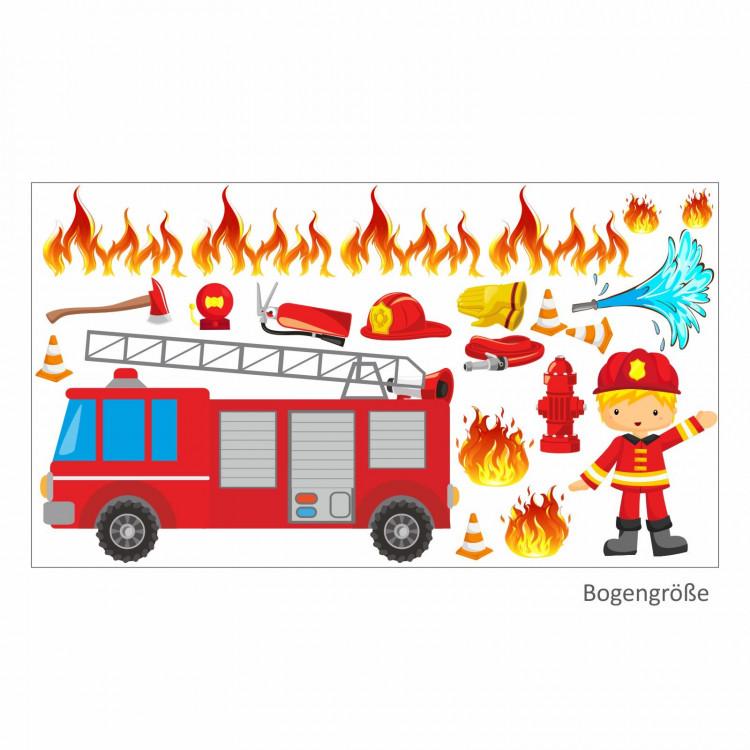 007 Wandtattoo Feuerwehrauto Feuerwehrmann Schlauch Wasser Brand löschen