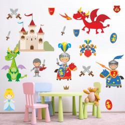 Wandtattoo Ritter mit Drachen Burg Prinzessin Schwert Pferde Wappen