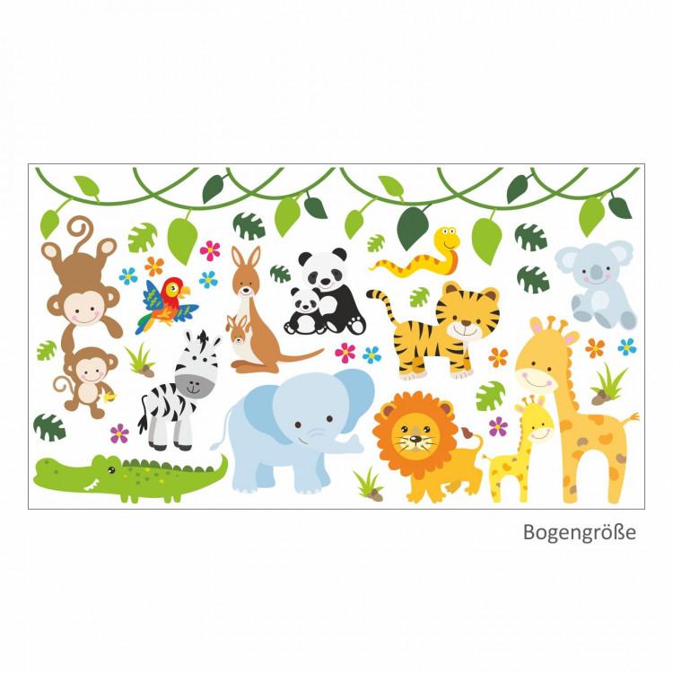 013 Wandtattoo Baby Tiere modern Zoo Löwe Elefant Giraffe Affe Zebra Krokodil