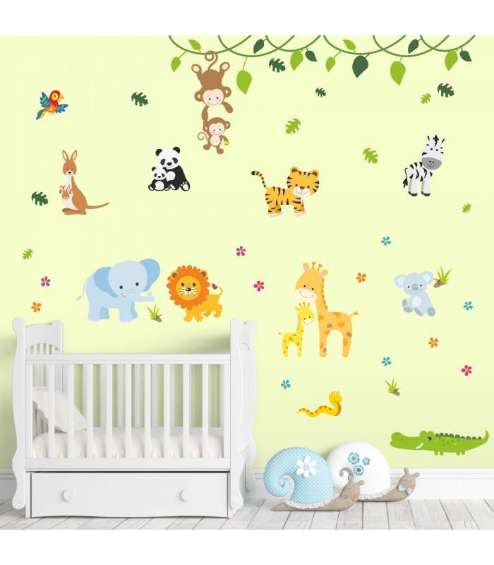 013 wandtattoo baby tiere modern zoo l we elefant giraffe affe zebra krokodil. Black Bedroom Furniture Sets. Home Design Ideas
