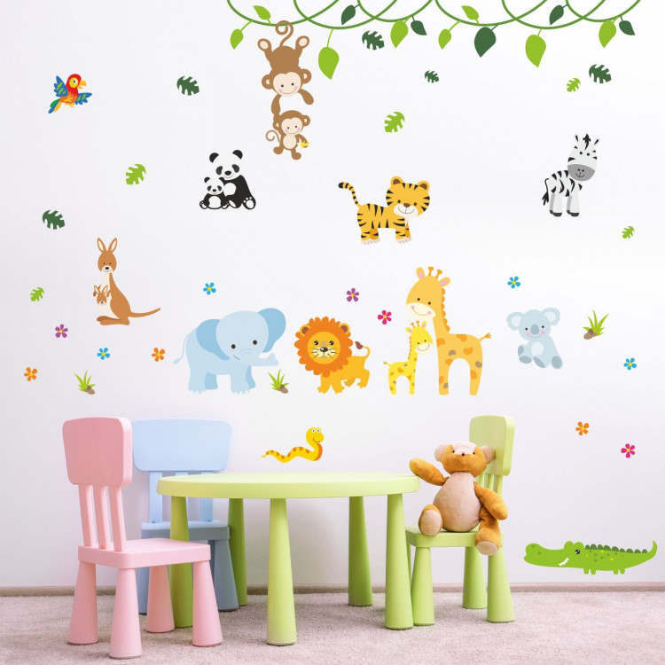 013 wandtattoo baby tiere modern zoo l we elefant giraffe affe zebra krokodil. Black Bedroom Furniture Sets. Home Design Ideas