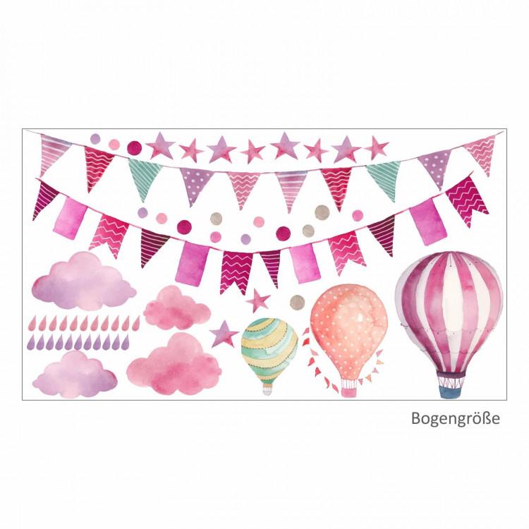 015 Wandtattoo Girlande Wimpelkette Ballon Wolke Regen Sterne rosa pink lila