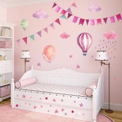 Wandtattoo Girlande Wimpelkette Ballon Wolke Regen Sterne rosa pink lila